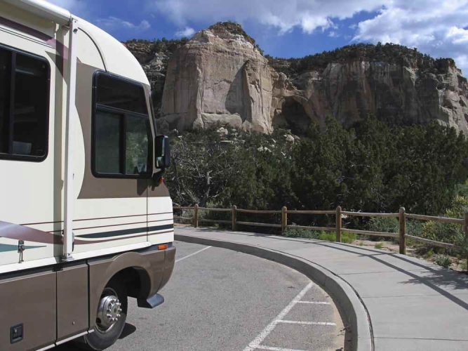 RV parked at scenic overlook